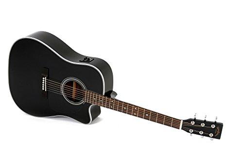 Western-Gitarre Sigma DMC-1STE Black mit Fishman Isys Tonabnehmer und integriertem Stimmgerät