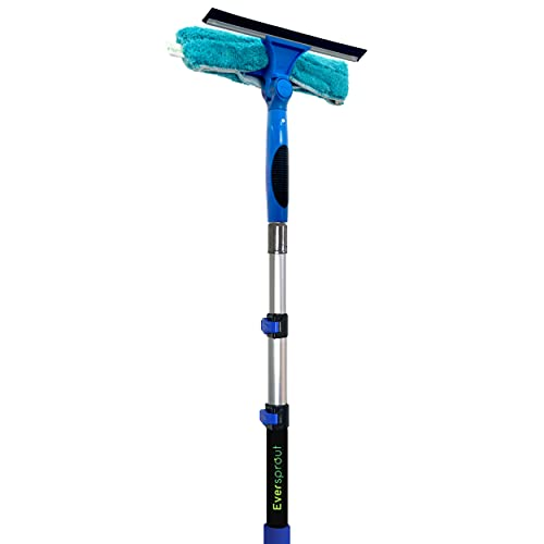 EVERSPROUT 7-to-20 Foot Swivel Squeegee and Microfiber Window Scrubber (25 Foot Reach) | 2-in-1 Window & Glass Cleaning Combo with Light-Weight, Aluminum Extension Pole | Includes 10-inch Blades
