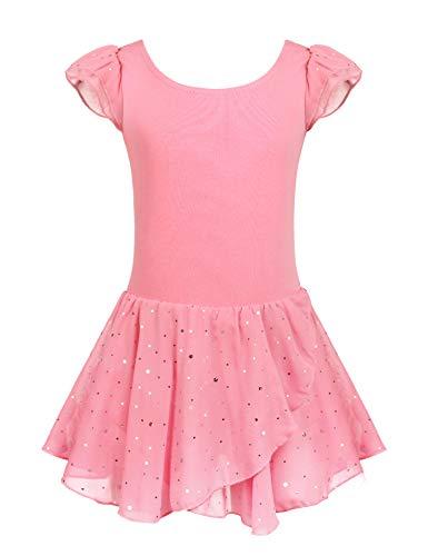 Arshiner Girls Ruffle Sleeve Ballet Dance Dress Glitter Tutu Skirted Leotard, 10-11 Years, Pink