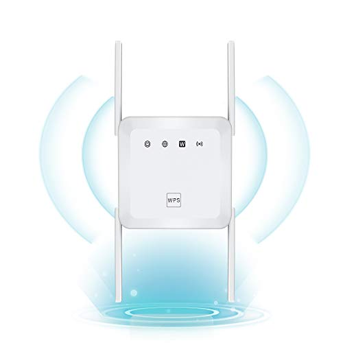 1200Mbps WiFi Range Extender Wireless Signal Repeater Booster, Dual Band 2.4G and 5G Expander 4 Antennas 360° Full Coverage Extend WiFi Signal to Smart Home & Alexa Devices (1200Mbps, White)