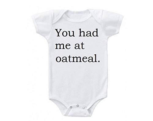 Body de bebé unisex You Had Me at Avena Desayuno Foodie Blanco Divertido Mameluco de manga corta para bebé 18 meses