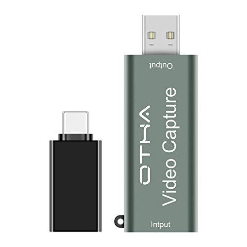 OTHA Scheda di acquisizione Video, Dispositivo di acquisizione Audio HD 1080P 60fps per OBS Registrazione da HDMI a USB 2.0 Tramite videocamera DSLR, con Adattatore convertitore da USB a Tipo c