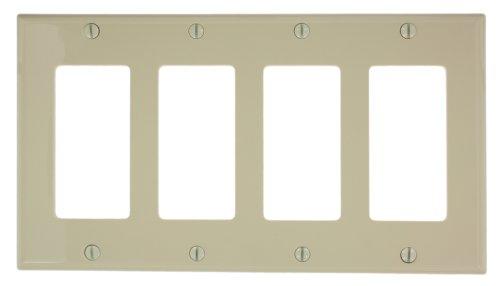 Leviton 80412-NI 4-Gang Decora/GFCI Device Wallplate, Standard Size, Thermoplastic Nylon, Device Mount, Ivory