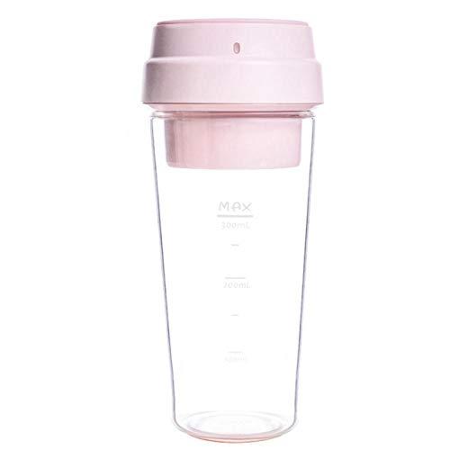 LYYN Elektrischer Entsafter Elektrischer Mini-Obst-Gemüse-Orangensaft-Mixer 400 ml Tasse für Kinder im Freien Pink
