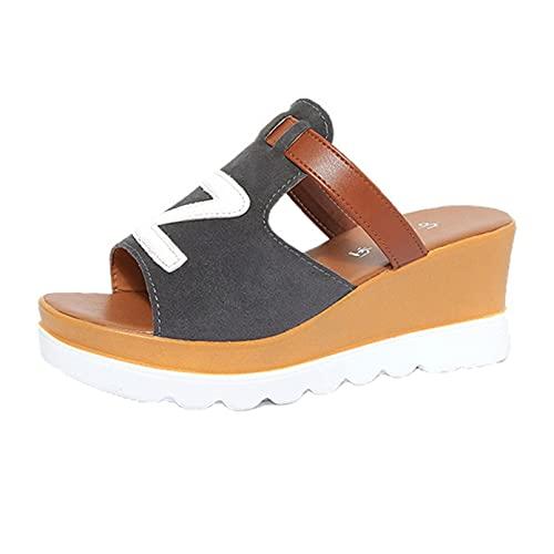 Sandalias de plataforma sin espalda para mujer Primavera Verano Slip-On Z Letter Decor Zapatillas Comfort Open Toe Mules Zapatos de cuña