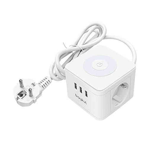 Steckdosenleiste Würfel 2 Fach mit USB, Powercube Mehrfachsteckdose Überspannungsschutz,Dimmbar Nachttischlampe Steckdose mit Schalter für Büro, Hause und Reisen, 1.5m Kabel Weiß -Baykul
