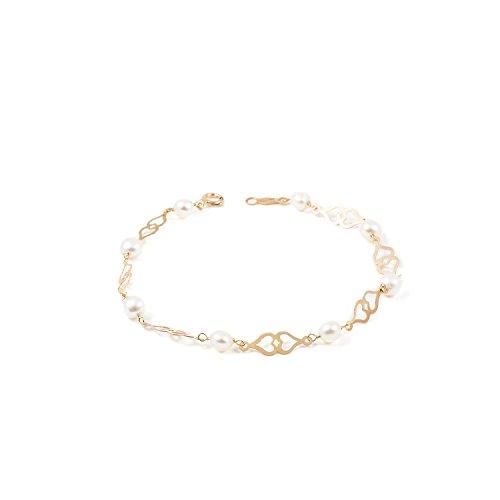 Pulsera Corazón Doble con perla (9kts)