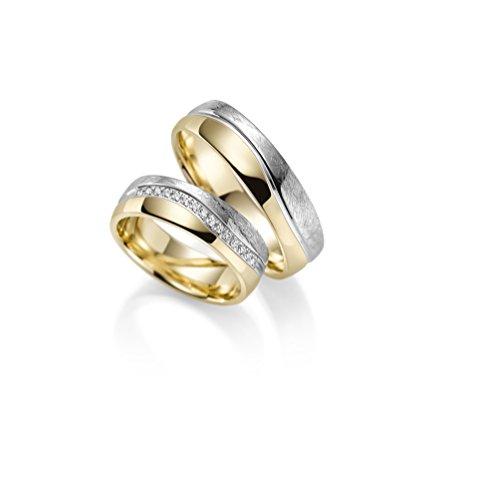 Par de alianzas Rubin Juwelier en oro 333 amarillo y oro blanco. Incluye grabado y 15circonitas