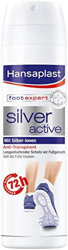 Hansaplast Silver Active Fußspray 150 ml 1er Pack, Fußspray Antitranspirant mit 48h Schutz vor Fußgeruch und Schweiß, Aktiv-Komplex mit Silber-Ionen