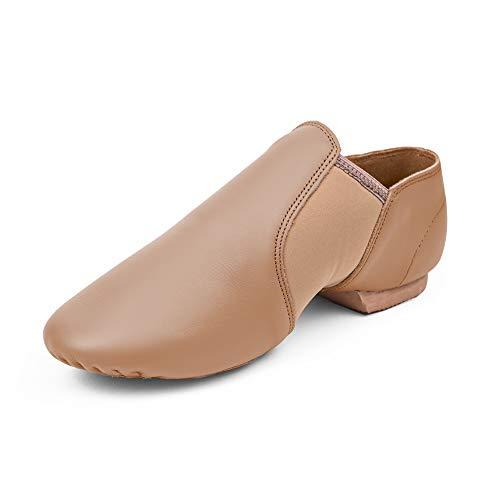 STELLE Leather Jazz Slip-On Dance Shoes for Girls Boys Toddler Kid (Tan, 3ML)