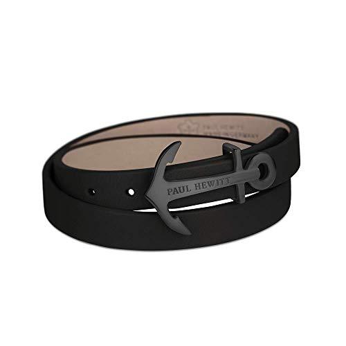 PAUL HEWITT Wickelarmband North Bound aus Leder in Schwarz und Anker aus Edelstahl in Schwarz Armband-Länge 37,5 cm
