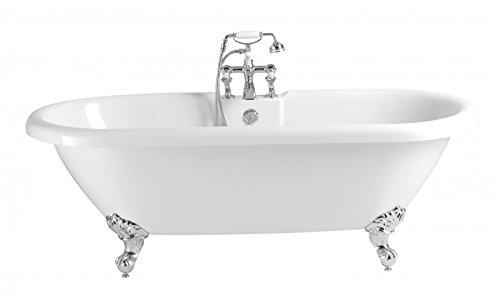 Casa Padrino Jugendstil Badewanne freistehend Weiß Modell He-BAB 1495mm - Freistehende Retro Antik Badewanne Barock Stil