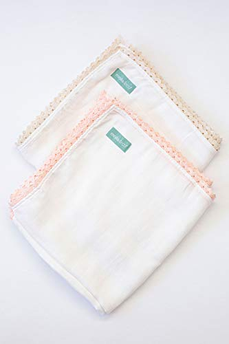 Moulins & Co. Muslin Duo Pack, Pure White. Couverture multi-usage pour bébé. 70% bambou et 30% coton. Taille L (100 x 100 cm). Children: L Bordure rose/beige