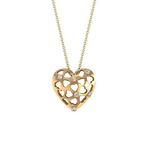 Collana vintage con ciondolo a forma di cuore gonfio certificato IGI, con ciondolo a forma di cuore, per matrimonio, compleanno, anniversario, 18K Giallo oro Senza catena
