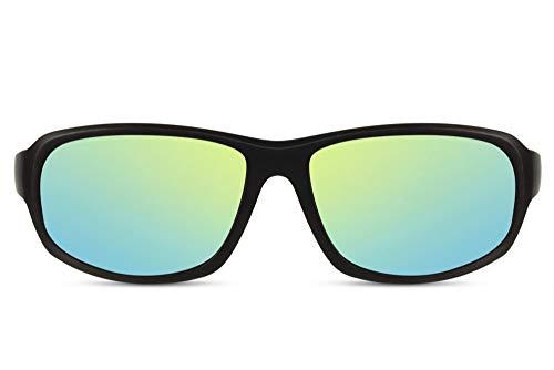 Cheapass Gafas de Sol Deporte Montura Negra con Lentes Espejadas Amarillas/Verdes Protección UV400 Hombres Mujeres