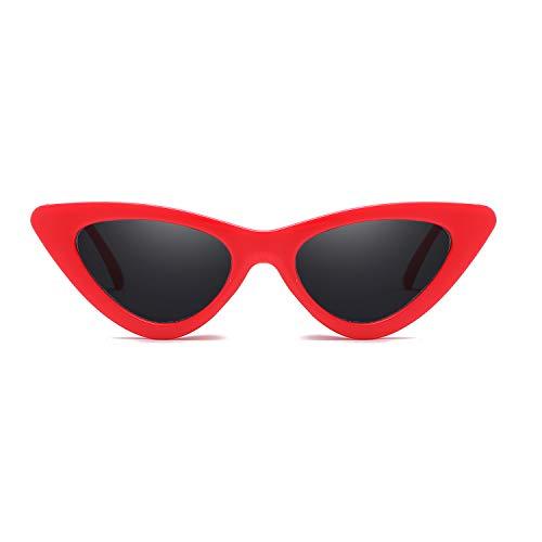 Gafas de sol ultra para adultos, estilo retro, triángulo, montura pequeña, ojo de gato, protección UV400, para mujer, color Rojo, talla Medium