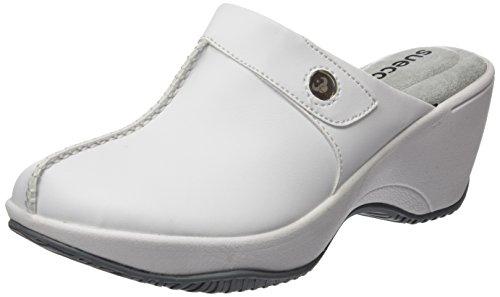 Suecos Vera, Zapatos de Trabajo Mujer, Blanco (White), 38 EU