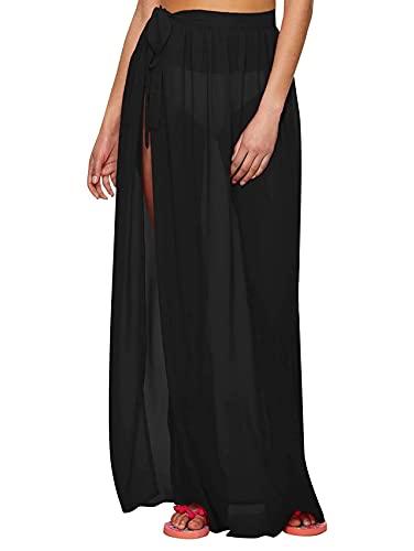 Floerns Women's Sheer Beach Swimwear Cover Up Wrap Skirt Black Sheer S