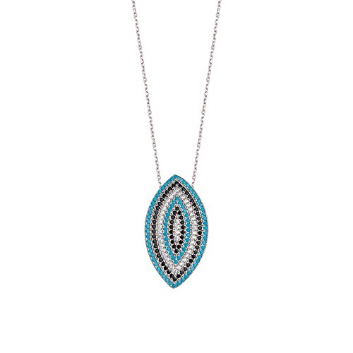 925 Sterling Silver Nano Simulated Turquoise White and Black Cubic Zirconia Marquis Necklace Jewelry Gifts for Women - 46 Centimeters