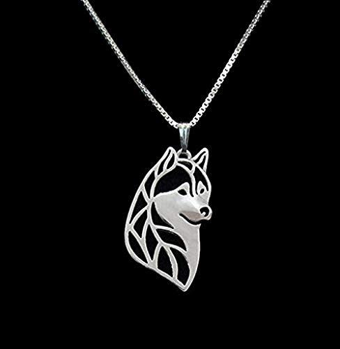 GLLFC Collar de Plata Cabeza de Husky Siberiano Collar 3D