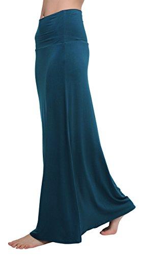 Urban GoCo Mujeres Falda Larga para Yoga Danza Casual Alta Cintura Bodycon Elástico Falda Maxi Azul Acero L