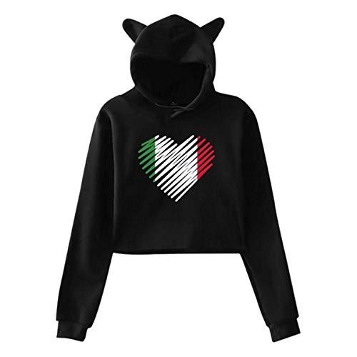 AYASS Womens Cat Ear Crop Top Pullover Hoodie Love Italy Heart Long Sleeve Sweatshirts,Black,M