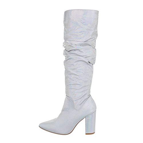 Ital Design Damenschuhe Stiefel High Heel Stiefel Synthetik Silber Gr. 40