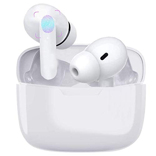 Wireless Earbuds Air Podswireless Bluetooth 5.0 Headphones with Fast Charging Case Noise Cancelling in Ear Ear Buds with Deep Bass Earbuds for iPhone/Android/Airpods Pro Apple Earpods (White)