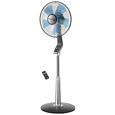 Rowenta VU5670 Turbo silence Stand Fan Oscillating Fan with Remote Control, Standing Fan, 5-speed, Silver