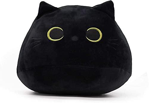 Juguete de peluche de gato negro 3D almohada de gato negro durable suave felpa muñeca gato Plushie gato almohada en forma de gato almohada sofá
