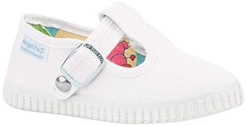 Zapatillas Pepito de Lona para Niños, Angelitos mod.122, Calzado infantil Made in Spain, Garantia de Calidad. (25, Blanco)