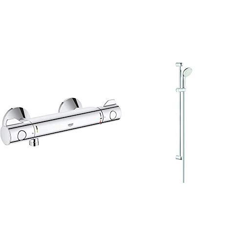 GROHE Grohtherm 800 | Thermostat-Brausebatterie, mit integrierter Mischwasserabsperrung u. Sicherheitssperre bei 38°C & Tempesta 100 | Brausen- und Duschsysteme - Brausestangenset 2 Strahlarten
