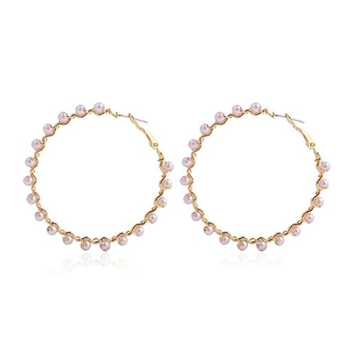 Yixikejiyouxian Pendientes de círculo de Perlas Retro Pendientes de Perlas exagerados de Forma Especial Europea y Americana Joyería Joyería Femenina - Blanco + Plata