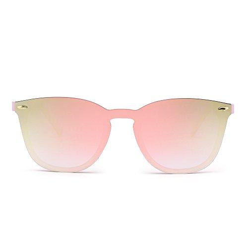 Gafas de Sol Sin Montura Una Pieza de Espejo Reflexivo Anteojos Para Hombre Mujer(Rosa/Rosa Espejo)