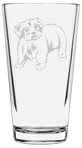 Maltese Dog Themed Etched All Purpose 16oz Libbey Pint Glass