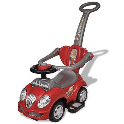 Coche de pedales para niños de 4 ruedas con volante y Kart con pulsador trasero para niños de 12 a 36 meses.