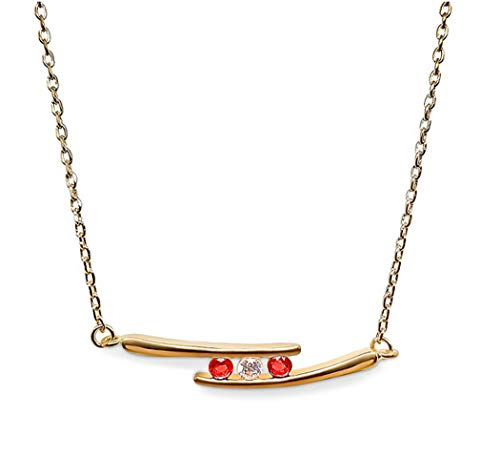 Ah! Jewellery Gift Boxed Gold Filled 3 Stone Ruby & Clear Crystal Necklace, Stamped GL.