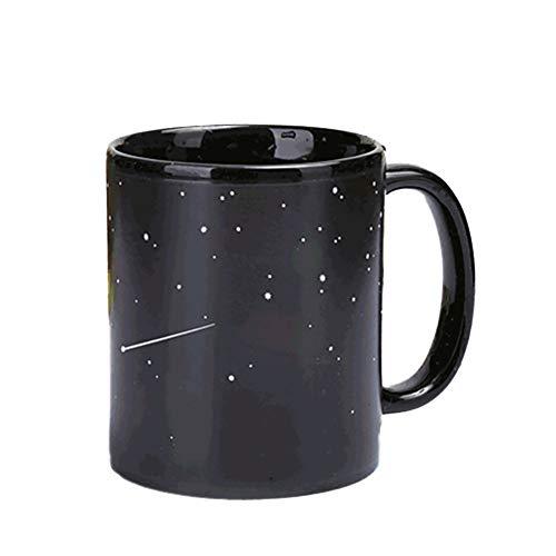kakakooo 1pc wärmeempfindlicher Becher Lustiger Kaffeetasse Schwarz-Keramik-Becher Magischer Morgen Tasse Milch Heiße Kälte Wärme Sensitive Farbwechsel-Becher-Schale