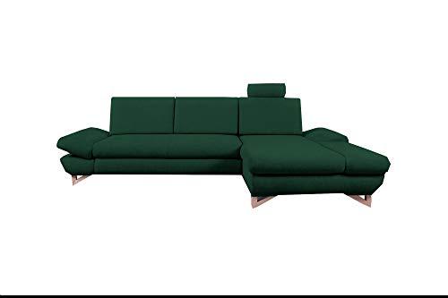 mb-moebel Ecksofa mit Schlaffunktion Eckcouch mit Bettkasten Sofa Couch L-Form Polsterecke Merida (Dunkelgrün, Ecksofa Rechts)