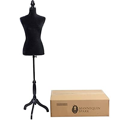 Bonnlo Female Dress Form Pinnable Mannequin Body Torso with Wooden Tripod Base Stand