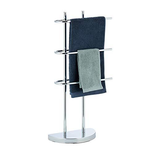 Relaxdays, Silber Handtuchhalter Chrom, dreiarmig, Halbrunder Fuß, Handtuchständer freistehend, Metall, HBT: 83x40x18 cm