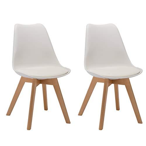 SYN-GUGAI Möbel 2 Stück/Set Esszimmerstühle Mit Massiven Buchenbeinen Kunststoff Gepolsterter Stuhl Holzküchenstühle Bar Chair Bürostuhl (Color : White)