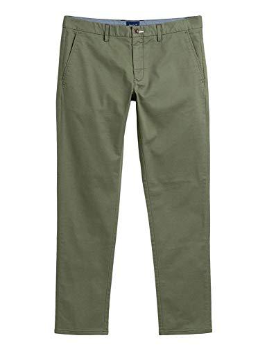 GANT The Tech Prep Slim Fit Pantalones chinos para hombre Tienda de campaña militar 358. 38W x 34L