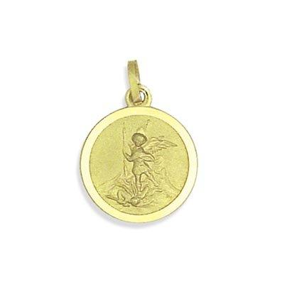 Heiliger Michael Medaille Anhänger Durchmesser 12mm echt 8K Gold 333 (Art.213009) Gratis Express Gravur