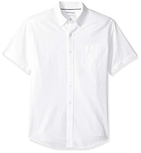 Amazon Essentials Chemise Oxford à manches courtes avec poche, coupe classique, pour homme, Blanc (White Whi), US S (EU S)