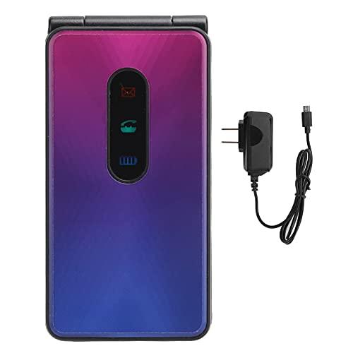 2.4In 2G GSM Mini Flip Phone,Dual Card Dual Standby Flip Phone,32Mb+32Mb Memory Rugged Flip Children Moblie Phone,100240V US Plug(Navy Blue)