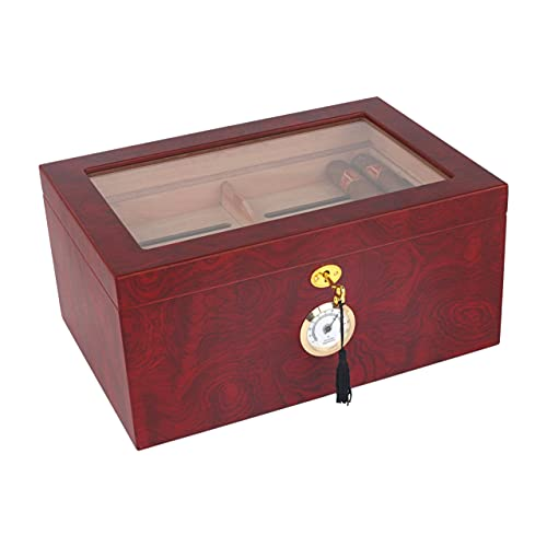 Mantello Cigar Humidor - Large Glass-Top Humidifier Box with Hygrometer & Removable Cedar Tray - Classic Wooden Storage Container with Lock and Divider - Best Cigar Accessory Gift for Men - Holds 50-100 Cigars