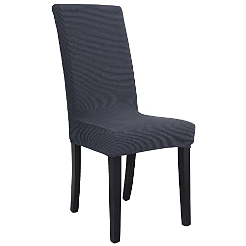 uxcell Luxury Knit Jacquard Chair Cover Strech Spandex Long Back Dining Chair Seat Cover Slipcover Protector Dark Gray XL