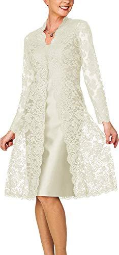 HUINI Brautmutterkleider mit Jacke Knielang Abendkleider Hochzeitskleid Langarm Spitzen Festkleider Elfenbein 50