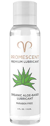 Promescent Premium Organic Aloe Lube for Sex with Natural Ingredients, Personal Lubricant for Women, Men & Couples, Toy/Vibrator Safe, Condom Compatible, Paraben Free, Non-Sticky, Long-Lasting (4 oz)